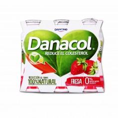 Danone Danacol Yogur Natural Desnatado con Sabor a Fresa - (6 Unidades) - 600g