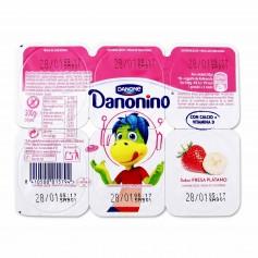Danone Danonino Yogur Semidesnatado con Sabor a Fresa y Plátano - (6 Unidades) - 300g